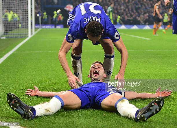 Gary Cahill of Chelsea celebrates scoring his side's second goal with his tam mate Nemanja Matic during the Premier League match between Chelsea and...