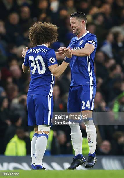 Gary Cahill of Chelsea celebrates scoring the opening goal with his team mate David Luiz during the Premier League match between Chelsea and Stoke...