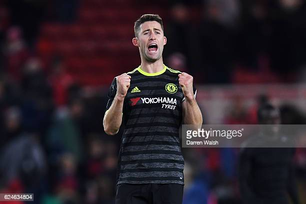 Gary Cahill of Chelsea celebrates victory after the Premier League match between Middlesbrough and Chelsea at Riverside Stadium on November 20 2016...