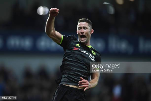 Gary Cahill of Chelsea celebrates winning the league after the Premier League match between West Bromwich Albion and Chelsea at The Hawthorns on May...