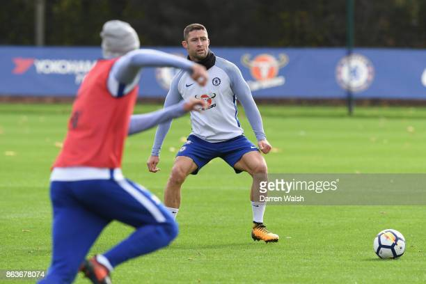 Gary Cahill of Chelsea during a training session at Chelsea Training Ground on October 20 2017 in Cobham United Kingdom