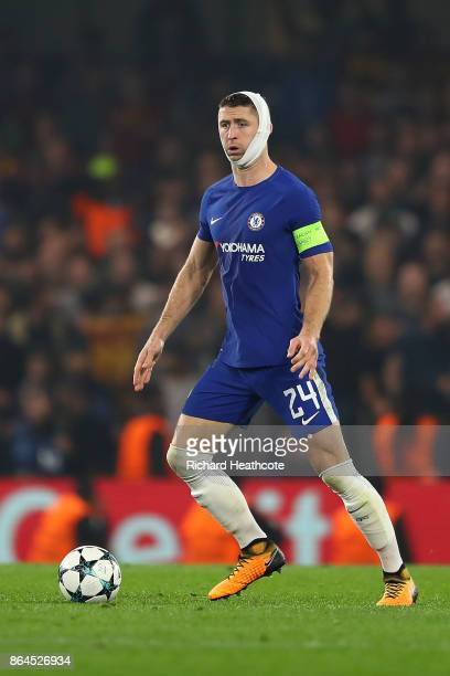 Gary Cahill of Chelsea during the UEFA Champions League group C match between Chelsea FC and AS Roma at Stamford Bridge on October 18 2017 in London...