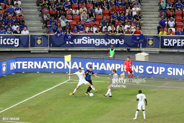 Gary Cahill of Chelsea FC tackles Danilo D'Ambrosio of FC Internazionale for the ball during the International Champions Cup match between FC...