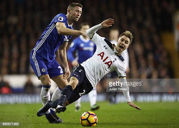 Gary Cahill of Chelsea fouls Christian Eriksen of Tottenham Hotspur during the Premier League match between Tottenham Hotspur and Chelsea at White...