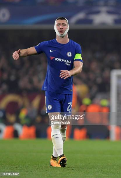 Gary Cahill of Chelsea gives instruction during the UEFA Champions League group C match between Chelsea FC and AS Roma at Stamford Bridge on October...