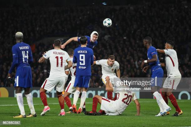 Gary Cahill of Chelsea heads towards the goal during the UEFA Champions League group C match between Chelsea FC and AS Roma at Stamford Bridge on...