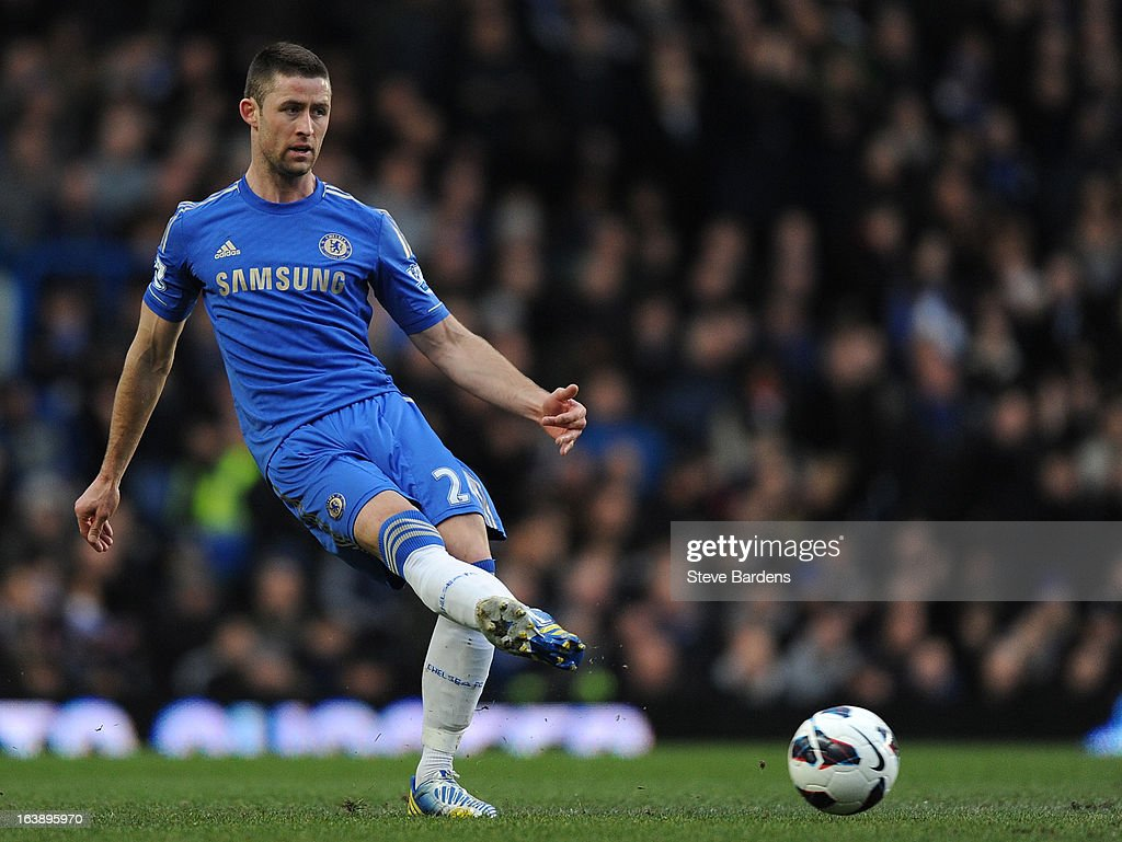 Gary Cahill of Chelsea in action during the Barclays Premier League match between Chelsea and West Ham United at Stamford Bridge on March 17, 2013 in London, England.