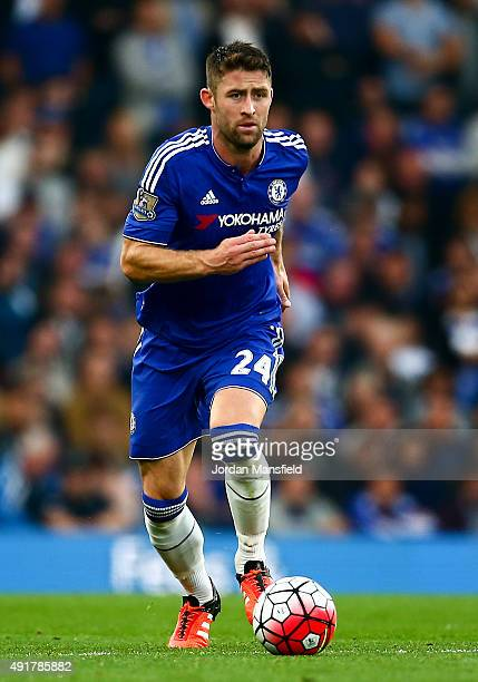 Gary Cahill of Chelsea in action during the Barclays Premier League match between Chelsea and Southampton at Stamford Bridge on October 3 2015 in...