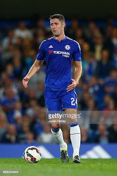 Gary Cahill of Chelsea in action during the Pre Season Friendly match between Chelsea and Fiorentina at Stamford Bridge on August 5 2015 in London...