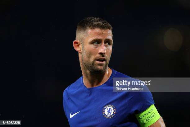 Gary Cahill of Chelsea in action during the UEFA Champions League group C match between Chelsea FC and Qarabag FK at Stamford Bridge on September 12...