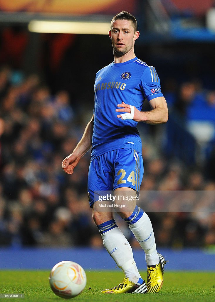 Gary Cahill of Chelsea in action during the UEFA Europa League Round of 32 second leg match between Chelsea and Sparta Praha at Stamford Bridge on February 21, 2013 in London, England.