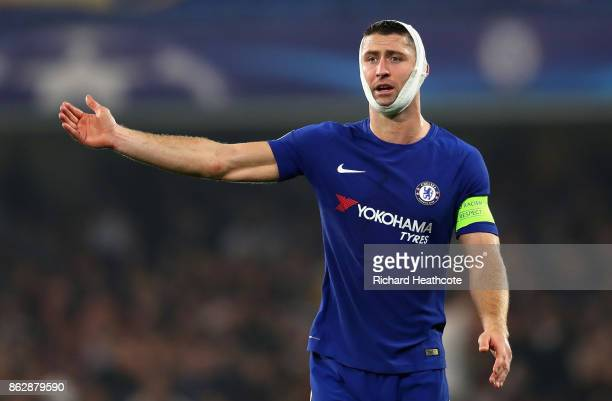Gary Cahill of Chelsea looks on during the UEFA Champions League group C match between Chelsea FC and AS Roma at Stamford Bridge on October 18 2017...
