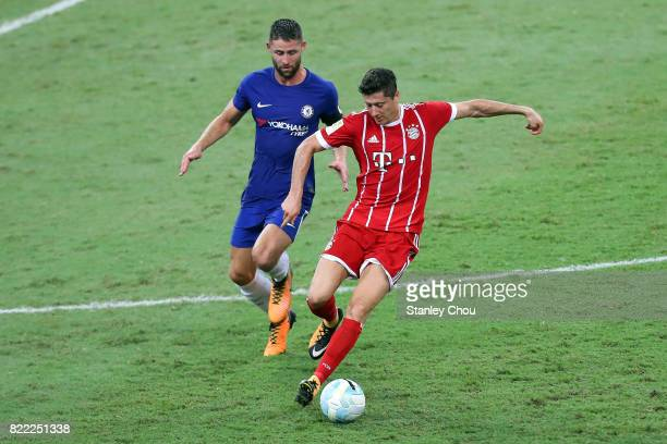 Gary Cahill of Chelsea pursuits Robert Lewandowski of Bayern Munich during the International Champions Cup match between Chelsea FC and FC Bayern...