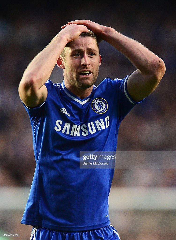 Gary Cahill of Chelsea reacts during the UEFA Champions League semi-final second leg match between Chelsea and Club Atletico de Madrid at Stamford Bridge on April 30, 2014 in London, England.
