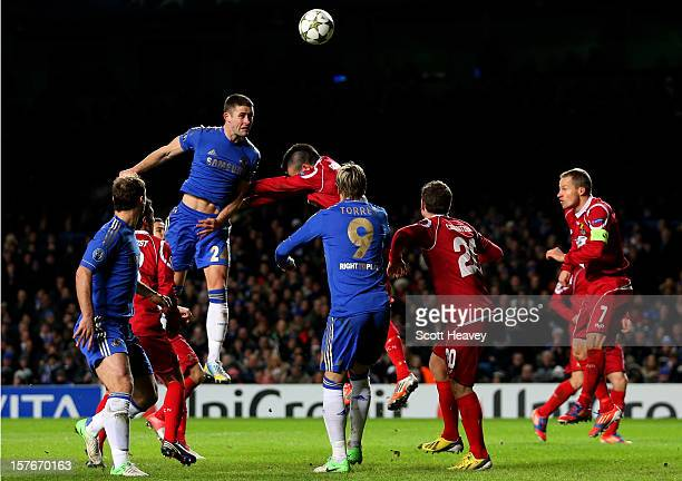 Gary Cahill of Chelsea rises above the FC Nordsjaelland to score his team's third goal with a header during the UEFA Champions League group E match...