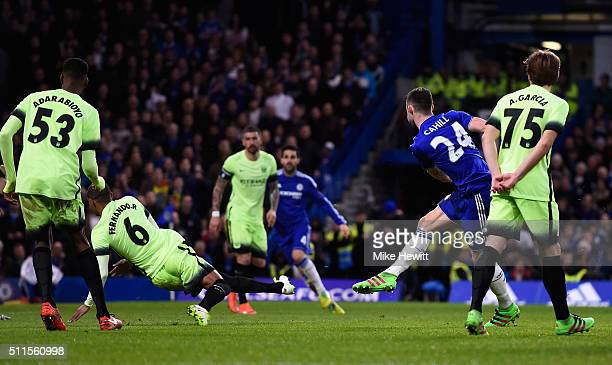Gary Cahill of Chelsea scores his team's third goal during The Emirates FA Cup fifth round match between Chelsea and Manchester City at Stamford...