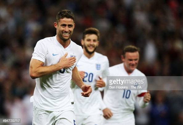 Gary Cahill of England celebrates as he scores their second goal during the International Friendly match between England and Peru at Wembley Stadium...