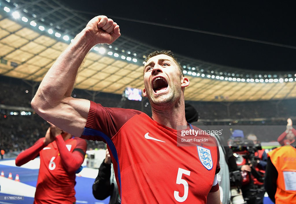 <a gi-track='captionPersonalityLinkClicked' href=/galleries/search?phrase=Gary+Cahill&family=editorial&specificpeople=204341 ng-click='$event.stopPropagation()'>Gary Cahill</a> of England celebrates his team's 3-2 win after the International Friendly match between Germany and England at Olympiastadion on March 26, 2016 in Berlin, Germany.