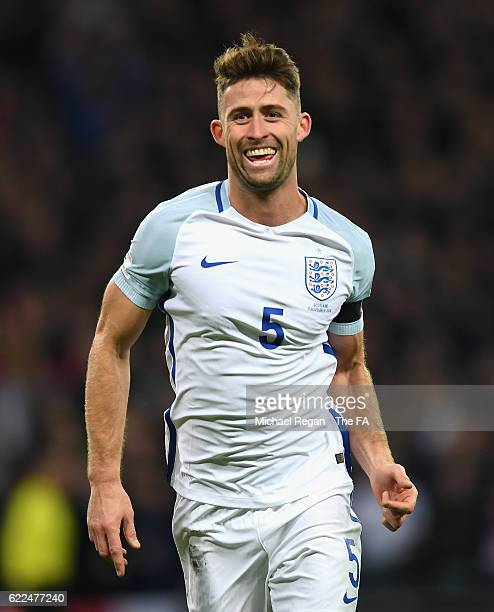 Gary Cahill of England celebrates scoring his team's third goal during the FIFA 2018 World Cup Qualifier between England and Scotland at Wembley...