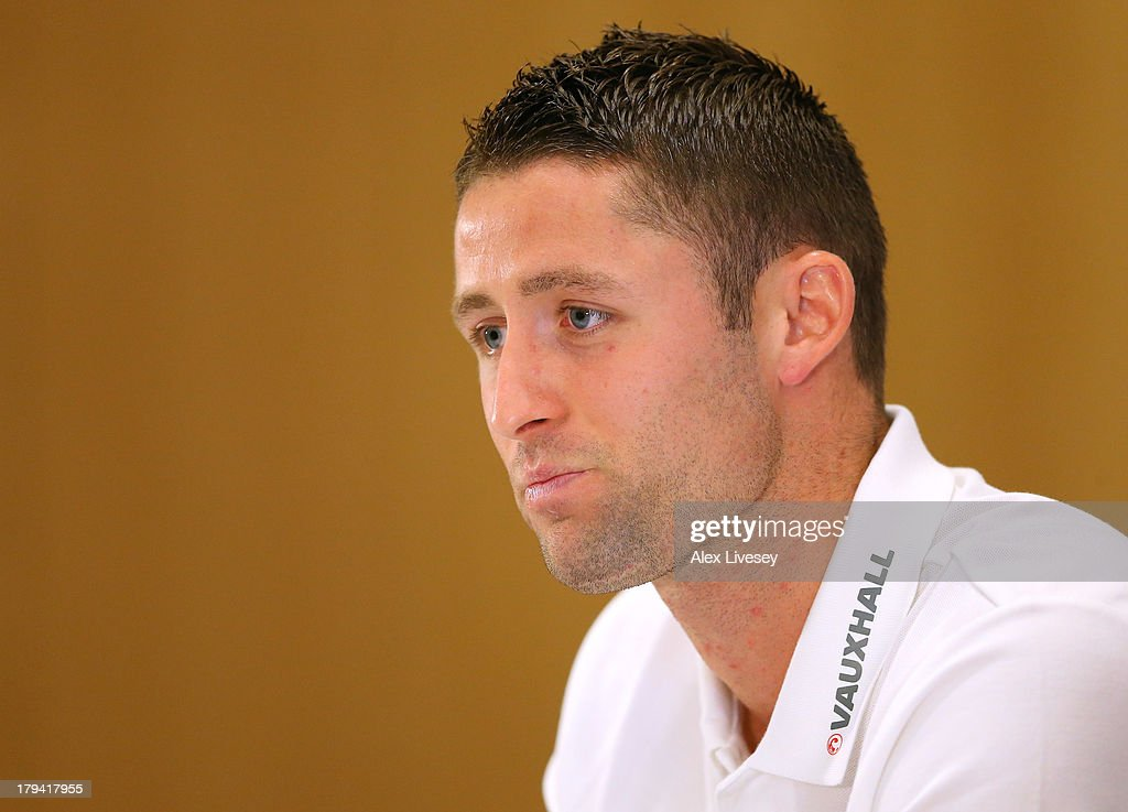 <a gi-track='captionPersonalityLinkClicked' href=/galleries/search?phrase=Gary+Cahill&family=editorial&specificpeople=204341 ng-click='$event.stopPropagation()'>Gary Cahill</a> of England faces the media during a press conference at St Georges Park on September 3, 2013 in Burton-upon-Trent, England.