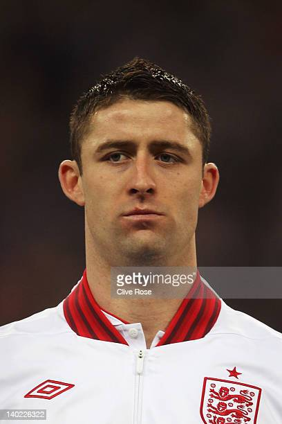 Gary Cahill of England looks on prior to the international friendly match between England and Netherlands at Wembley Stadium on February 29 2012 in...