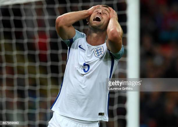 Gary Cahill of England reacts during the FIFA 2018 World Cup Group F Qualifier between England and Slovenia at Wembley Stadium on October 5 2017 in...