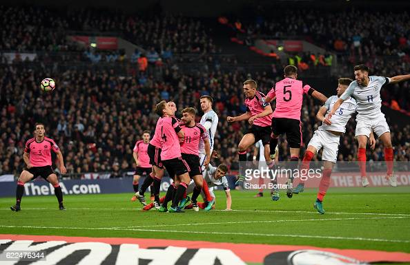 Gary Cahill of England scores their third goal during the FIFA 2018 World Cup qualifying match between England and Scotland at Wembley Stadium on...