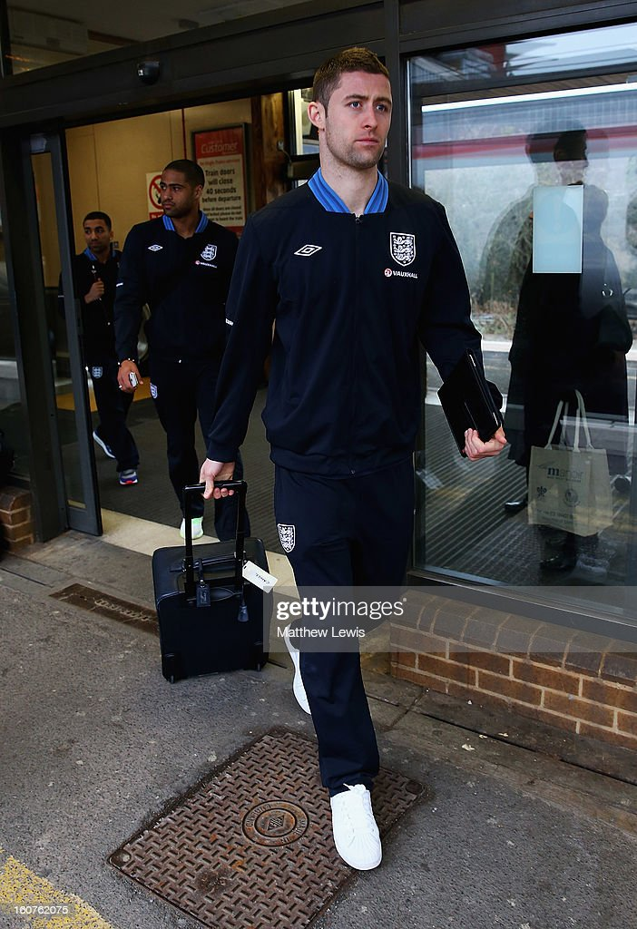 Gary Cahill of England travels to London by Train from Birmingham International Train Station on February 5, 2013 in Birmingham, England.