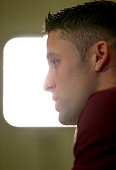 Gary Cahill speaks to the media during an England Press Conference at St Georges Park on March 24 2015 in BurtonuponTrent England