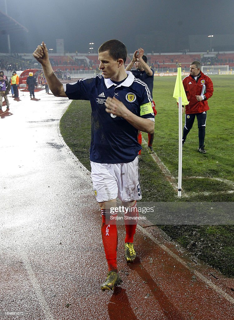 Gary Caldwell waves to the fans after the FIFA 2014 World Cup Qualifier between Serbia and Scotland at Karadjordje Stadium on March 26, 2013 in Novi Sad, Serbia.