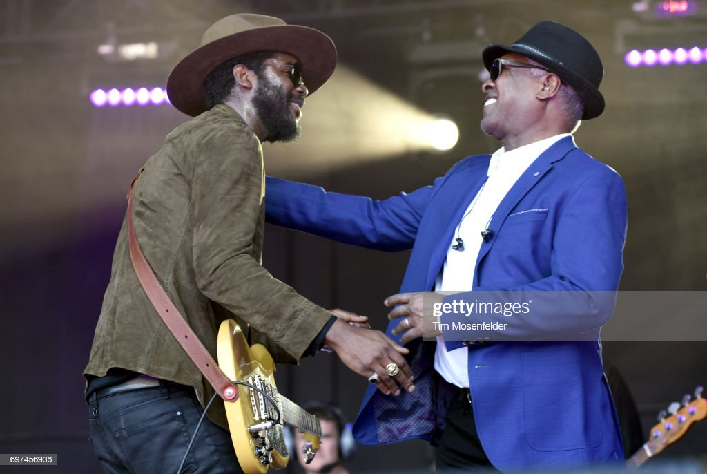 Gary Clark Jr. (L) and Booker T. Jones perform during the Monterey International Pop Festival 2017 at Monterey County Fairgrounds on June 18, 2017 in Monterey, California.