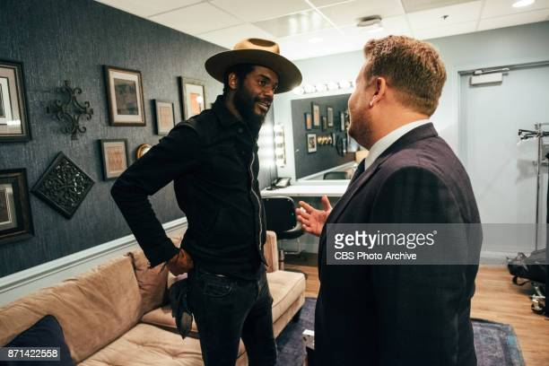 Gary Clark Jr chats in the green room with James Corden during 'The Late Late Show with James Corden' Thursday November 2 2017 On The CBS Television...
