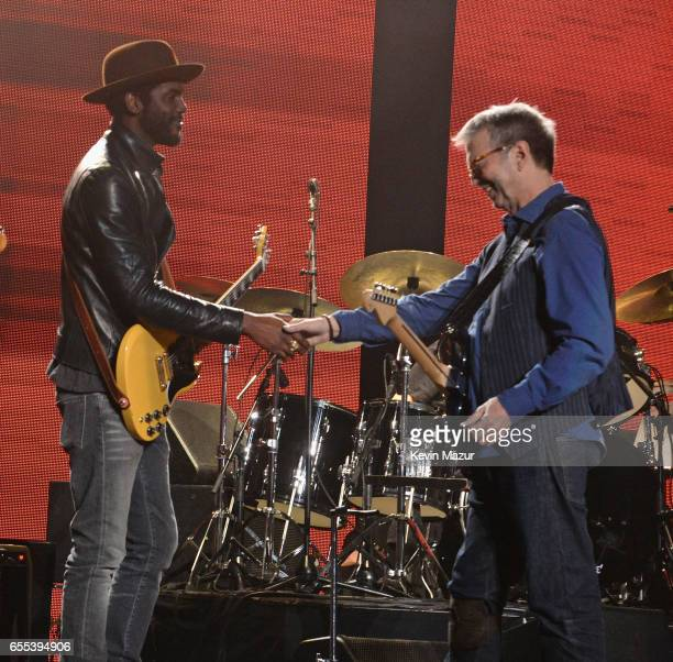 Gary Clark Jr performs onstage with Eric Clapton His Band at Madison Square Garden on March 19 2017 in New York City