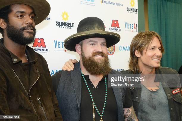 Gary Clark Jr Zac Brown and Keith Urban poses in the press room during the VetsAid Charity Benefit concert at Eagle Bank Arena on September 20 2017...