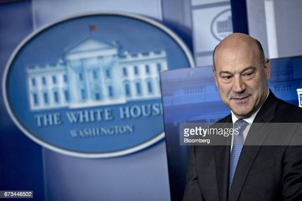 Gary Cohn director of the US National Economic Council arrives to the White House press briefing with Steven Mnuchin US Treasury secretary not...