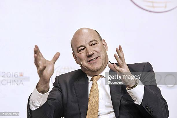 Gary Cohn president and chief operating officer of Goldman Sachs Group Inc gestures whilst he speaks during the Institute of International Finance...
