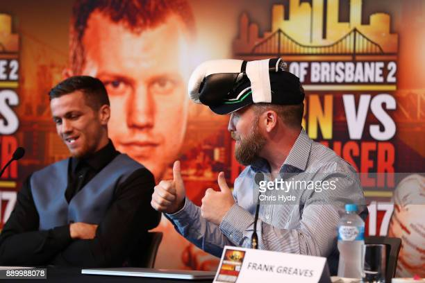 Gary Corcoran and trainer Frank Greaves speak to media during the official press conference ahead of the WBO World Welterweight Championship fight...