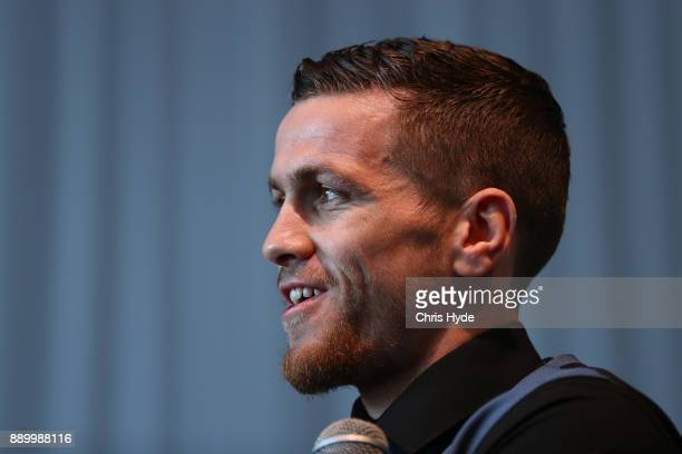 Gary Corcoran speaks to media during the official press conference ahead of the WBO World Welterweight Championship fight between Jeff Horn and Gary...