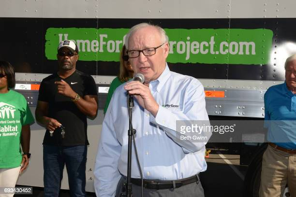 Gary E Robinette the Chairman and CEO of Chairman and CEO of Ply Gem speaks at Ply Gem's Home for Good press conference with Habitat for Humanity and...