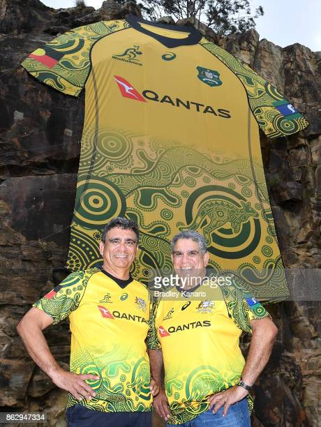 Gary Ella and Glen Ella pose for a photo during the Australian Wallabies media opportunity at Kangaroos Point Cliff on October 19 2017 in Brisbane...