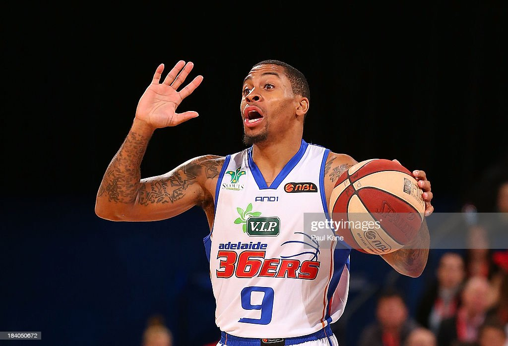 Gary Ervin of the 36ers calls a play during the round one NBL match between the Perth Wildcats and the Adelaide 36ers at Perth Arena in October 11, 2013 in Perth, Australia.