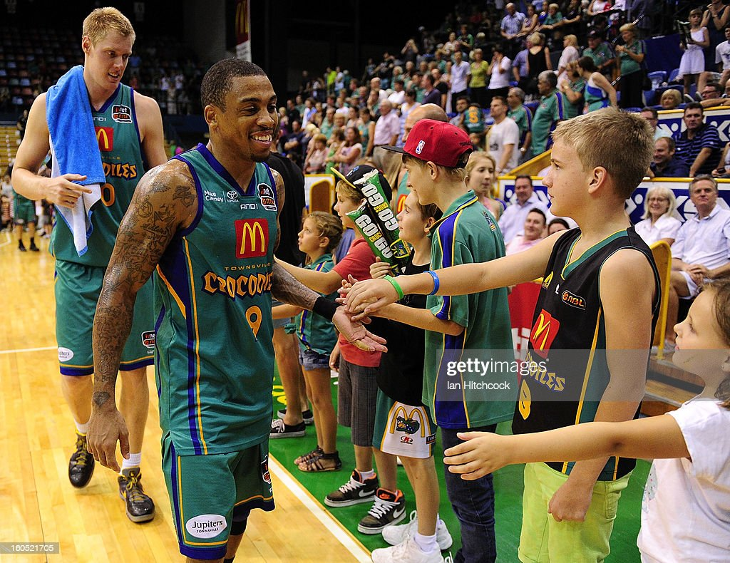 Gary Ervin of the Crocodiles acknowledges the crowd after winning the round 17 NBL match between the Townsville Crodcodiles and the Sydney Kings at Townsville Entertainment Centre on February 2, 2013 in Townsville, Australia.