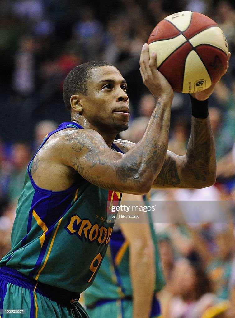 Gary Ervin of the Crocodiles attempts a free throw shot during the round 17 NBL match between the Townsville Crodcodiles and the Sydney Kings at Townsville Entertainment Centre on February 2, 2013 in Townsville, Australia.