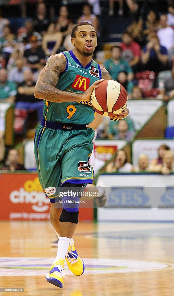 Gary Ervin of the Crocodiles dribbles the ball during the round eight NBL match between the Townsville Crocodiles and the Perth Wildcats at Townsville Entertainment Centre on November 24, 2012 in Townsville, Australia.