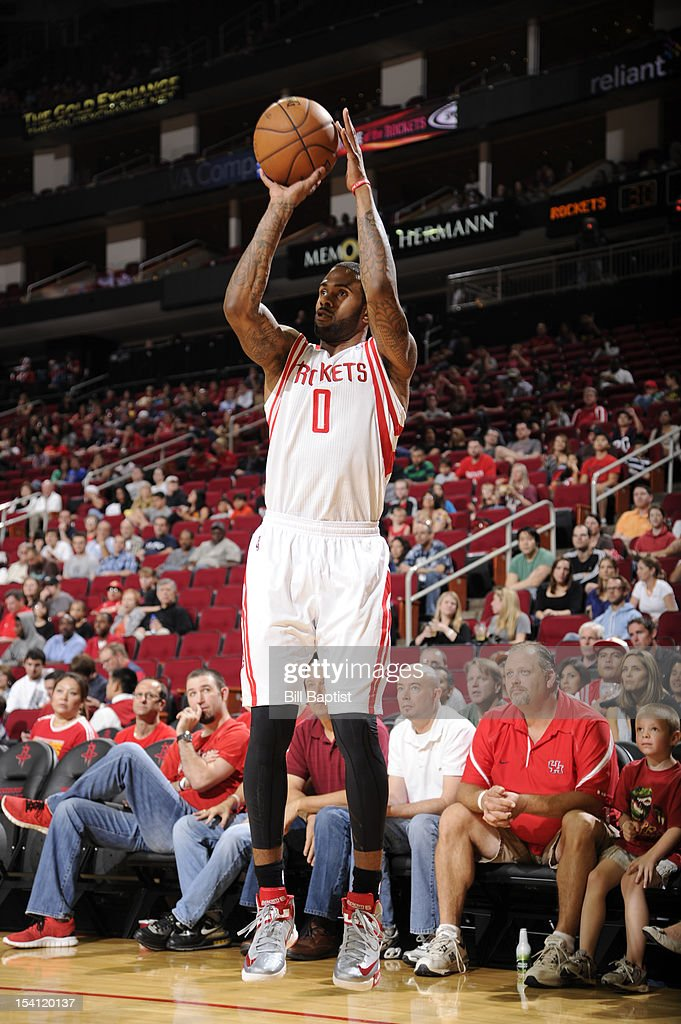 <a gi-track='captionPersonalityLinkClicked' href=/galleries/search?phrase=Gary+Forbes&family=editorial&specificpeople=2558000 ng-click='$event.stopPropagation()'>Gary Forbes</a> #0 of the Houston Rockets shoots the ball against the San Antonio Spurs during a pre-season game on October 14, 2012 at the Toyota Center in Houston, Texas.