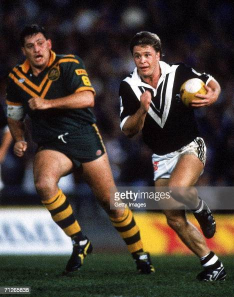 Gary Freeman of the Kiwis makes a break during the ARL Test match between the Australian Kangaroos and the New Zealand Kiwis played in Melbourne...