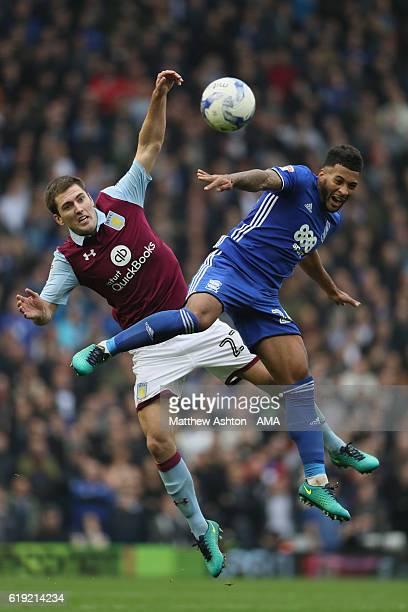 Gary Gardner of Aston Villa and David Davis of Birmingham City during the Sky Bet Championship match between Birmingham City and Aston Villa at St...