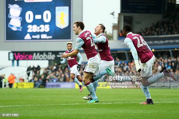 Gary Gardner of Aston Villa celebrates after scoring a goal to make it 01 during the Sky Bet Championship match between Birmingham City and Aston...