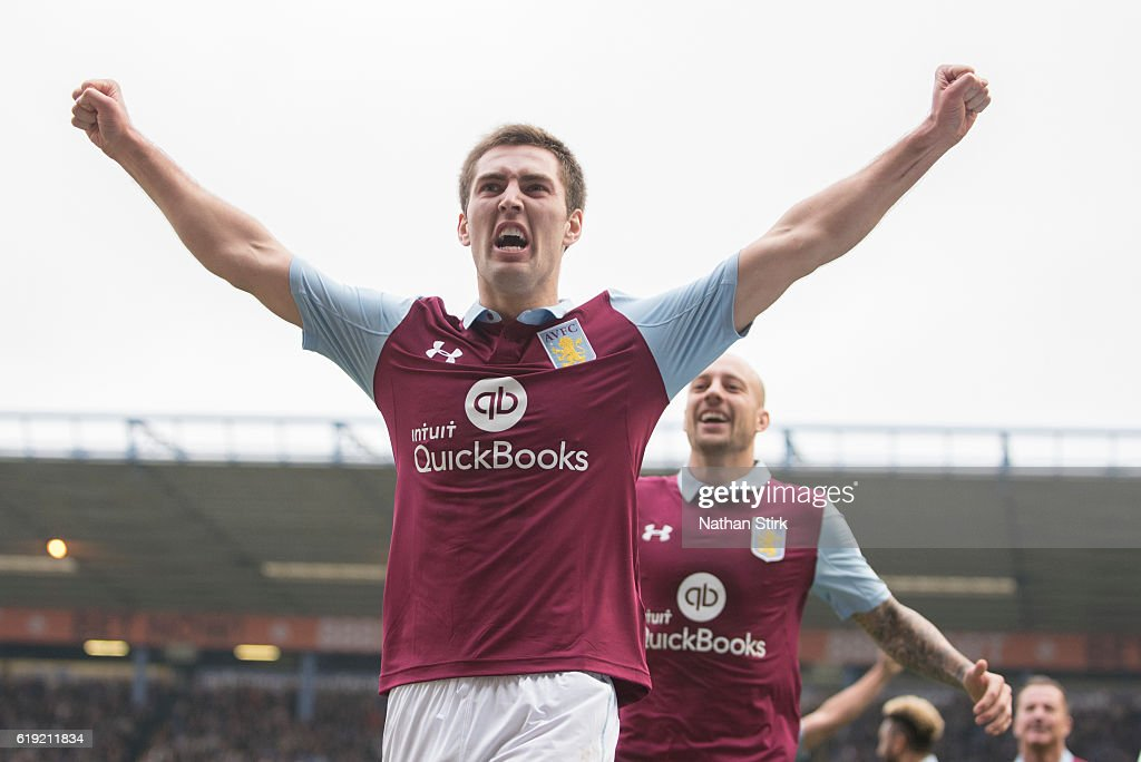 Gary Gardner of Aston Villa celebrates during the Sky Bet Championship match between Birmingham City and Aston Villa at St Andrews Stadium on October 30, 2016 in Birmingham, England.