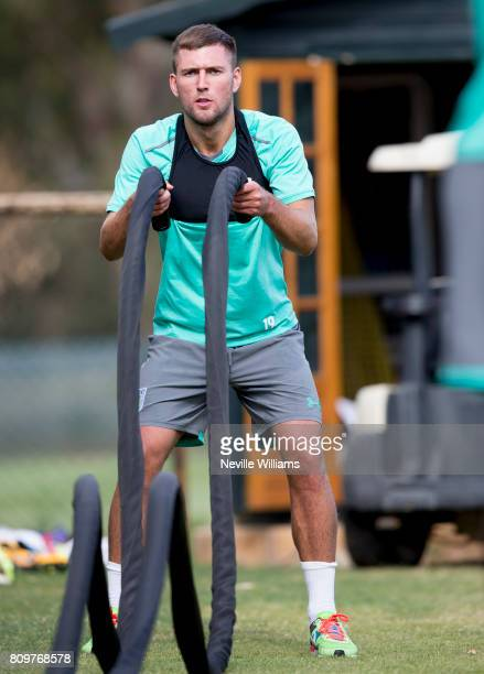 Gary Gardner of Aston Villa in action with team mates during a Aston Villa training session at the club's training camp at Faro on July 06 2017 in...